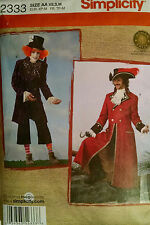 Simplicity Pattern 2333 Mens Mad Hatter Captain Hook Size XS-M 30-40