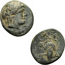Temnos Aiolis Bronze 3.Jhd. Dionysos Efeukranz Weintraube Ranke Blätter BMC 5