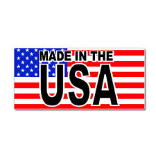 Made In The USA With American Flag - Window Bumper Sticker