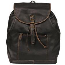 Black Rivet Mens Leather Backpack W/ Contrast Stitch Black