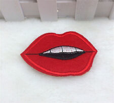 Red lips kiss Pattern Embroidered Cloth Iron On Patch Sew Motif Applique DIY