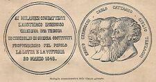 A9046 Medaglia delle Cinque Giornate - Xilografia Antica del 1906 - Engraving