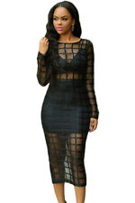 New Sexy Black Caged Sheer Long Sleeve Club Dress Cage Dance Party Shell Lining