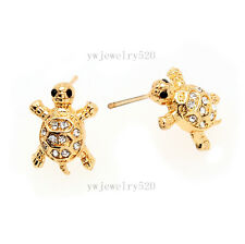 Turtle Stud Earrings Rhinestones Pave Sea Turtle Sea Life GOLD Beach Jewelry