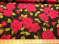 "Black With Hot Pink Roses Floral Print 100% Polyester Chiffon Fabric  58"" W BTY"