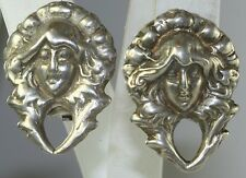 VTG VICTORIAN REVIVAL ART NOUVEAU LADY HEAD STERLING SILVER CLIP EARRINGS