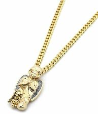 "Mens 14k Gold Plated Si Stardust Kneeling Angel Pendant Hip-Hop 30"" Cuban Chain"