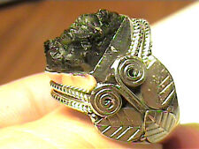 CZech Moldavite METEORITE RING 6.5 SILVER NATURAL STERLING 925 INDIAN HANDMADE