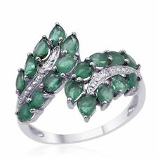 14k White Gold over 925 SS Marquise Cut Emerald 2.16ctw Diamond Ring Size 7