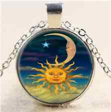 Sun Moon And Star Cabochon Glass Tibet Silver Chain Pendant Necklace#A62
