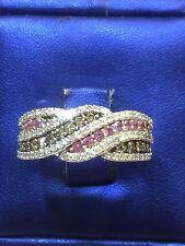14K White Gold Diamond Ring Crossover,Brown, white diamond and pink sapphire