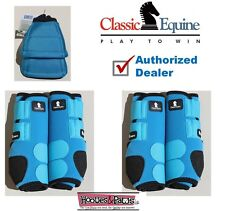 MEDIUM Turquoise CLASSIC EQUINE Front Rear Legacy Horse Leg No Turn Bell Boots