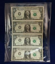 UNCUT U.S. CURRENCY 4 $1.00 Notes ( G ) Chicago Illinois 2003