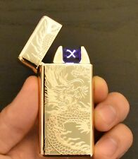 Gold Dragon USB Rechargeable Dual Arc Electric Flameless Lighter USA Ship