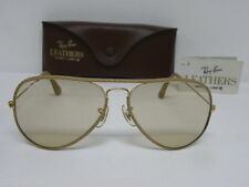 New Vintage B&L Ray Ban Large Metal Leathers Ostrich Gold Taupe Changeable L1513