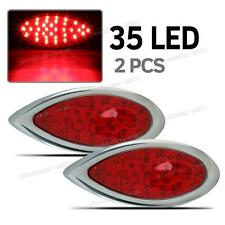 Red 35 LED Tear Drop Hot Rod Stop Turn Brake Tail Lights Chrome Bezels 2PCS