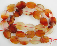 "16mm faceted natural carnelian flat oval beads 16"" strand"