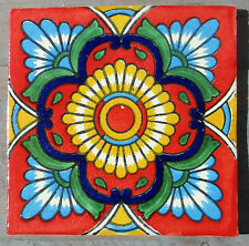 "10~Talavera Mexican 4"" tile pottery hand painted RED Gold Yellow terra cotta"
