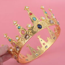 6cm High Lovely Princess Girl Adult Crystal Gold Crown Wedding Prom Pageant