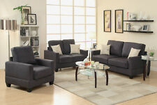 Microsuede 3Pc Modern Sofa Set Sofa Loveseat & Chair Living Room Furniture Ebony