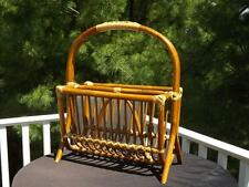 """Large Bamboo 2 Section Handled Magazine Rack Stand 19x10x22"""" Well Made"""