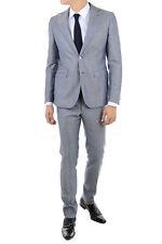 CORNELIANI TREND New Man Striped Blue Two Button Suit Sz 50 it Wool Linen Silk