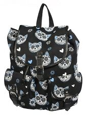 Banned Sugar Skull Kitty Cat Backpack School A4 Bag Tatoo Goth Rock Biker Black