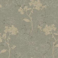 York Floral in Silver & Taupe Raised Design Wallpaper per Double Roll BR6213