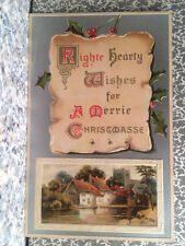 POSTCARD SILVER WITH PICTURE OF FARM HOUSE, PRODUCED IN GERMANY,MERRY CHRISTMAS