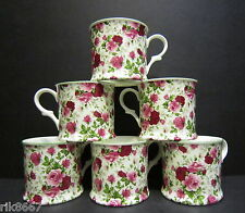 Set Of 6 Summertime Chintz English Fine Bone China Mugs Cups By Milton China