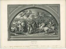 ANTIQUE ATTILA THE HUN SOLDIERS WAR HORSES FLAG ANGELS ALLEGORICAL OLD ART PRINT