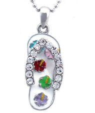 White Flip Flop Flower Beach Sandal Pendant Necklace Girl Ladies Jewelry n2005wh