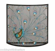 """Colorful Peacock Design Metal Fireplace Screen - New 33"""" x  32"""" by Benzara"""