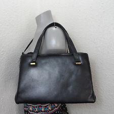Vintage Margolin Black Leather Frame Bag Purse 60's Tote