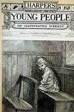 Jessie Curtis Shepherd NAUGHTY GIRL in DUNCES CORNER 1881 Antique Print Matted