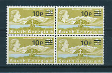 SOUTH GEORGIA 1977 DEFINITIVES SG63 10p on 2s BLOCK OF 4 MNH