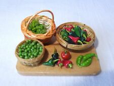 Maison de poupées miniature food-chili peppers & pois prep board