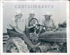 1947 Young Dutch Immigrant Farmers w Tractor in Washingtonville NY Press Photo