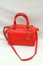 NWT Michael Kors Riley Pebbled Leather Small Satchel Crossbody Bag Watermelon