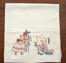 VINTAGE 1940 MEXICAN THEME EMBROIDERED KITCHEN TOWEL TEX MEX COLORFUL FLOUR SACK