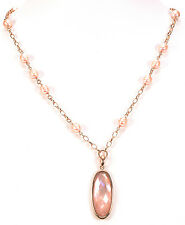 """Honora Cultured Pearl Rose Bronze Station 36"""" Long Necklace/Pendant"""