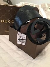 Authentic Men's Gucci Black Imprimé Leather Belt 95cm/32-34