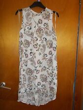 F+F 100% Viscose Paisley Pattern Asymmetric Hem Shift Dress 8 Cream Mix BNWT