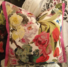 DESIGNERS GUILD ORANGERIE ROSE FABRIC DESIGN AS SEEN CUSHION COVER+PEONY TRIM