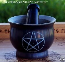 "PENTACLE Black Soapstone Mortar & Pestle 4"" Diameter - Witchcraft Wicca Pagan"