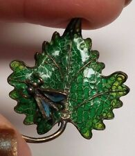 rare PLIQUE A JOUR 800 Silver ENAMEL Bug Leaf BROOCH PIN vtg Chinese Inspired
