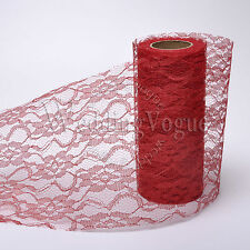 """6"""" x 10Yards Lace Roll Ribbon Tulle Spool Chair Sash Wedding Party Table Decor"""