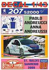 DECAL 1/43 PEUGEOT 207 S2000 PAOLO ANDREUCCI RALLYE SANREMO 2009 5th (03)