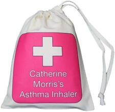 Personalised Pink Cross - Asthma Inhaler & Spacer bag - 14x20cm drawstring EMPTY