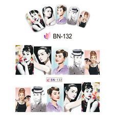 Nail Art Manicure Water Transfer Decal Stickers Audrey Hepburn BN132
